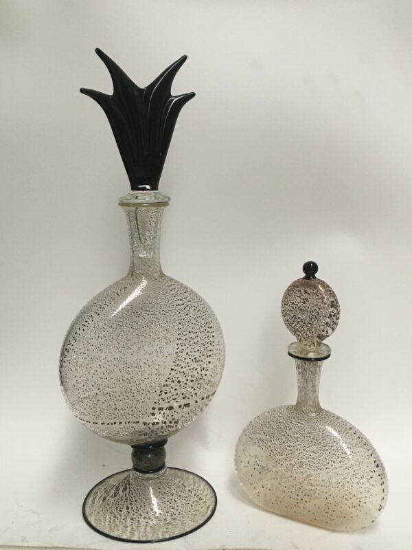 Fantastica coppia di vasi con foglia di argento all'interno della lavorazione. Comprato da una collezione privata. Anni 1970 coppia attribuita a Barovier